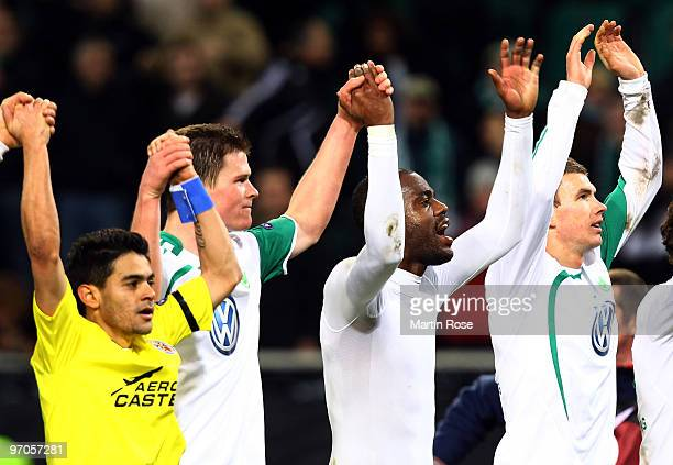 Josue, Alexander Madlung, Grafite and Edin Dzeko of Wolfsburg celebrate after the UEFA Europa League knock-out round, second leg match between VfL...