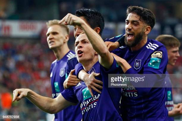 Josue Sa defender of RSC Anderlecht Adrien Trebel midfielder of RSC Anderlecht scores and celebrates pictured during the Jupiler Pro League play off...