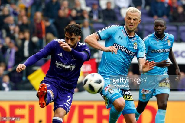 Josue Sa defender of RSC Anderlecht and David Pollet forward of Sporting Charleroi during the Jupiler Pro League play off 1 match between RSC...