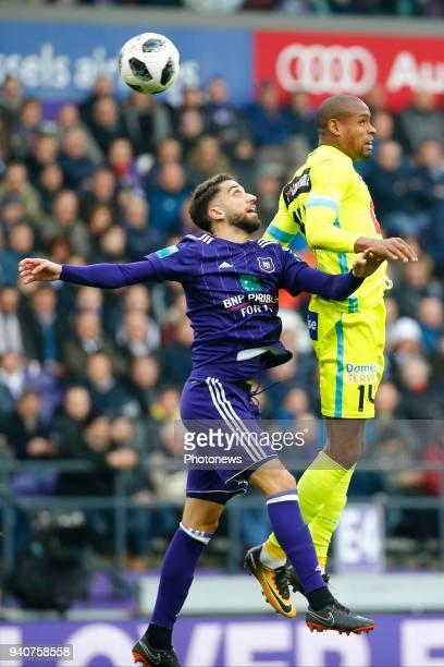 Josue Sa defender of RSC Anderlecht and Rangelo Janga forward of KAA Gent during the Jupiler Pro League PlayOff 1 match between RSC Anderlecht and...