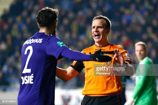Josue Sa defender of RSC Anderlecht and referee Nathan Verboomen pictured during the Jupiler Pro League match between STVV and RSC Anderlecht at the...