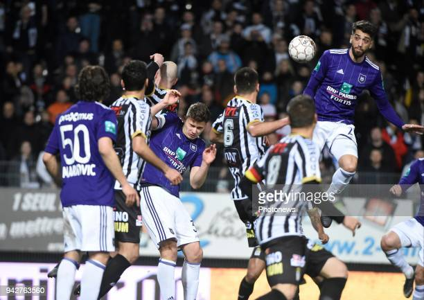 Josue Sa defender of RSC Anderlecht during the Jupiler Pro League Play Off 1 match between Sporting Charleroi and RSC Anderlecht at the Stade du Pays...