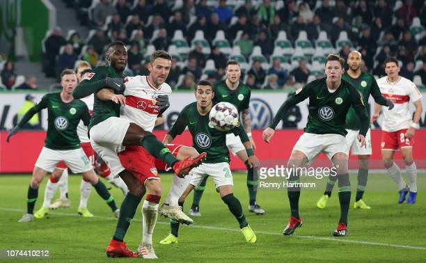 Josuha Guilavogui of Wolfsburg competes for the ball with Christian Gentner of Stuttgart during the Bundesliga match between VfL Wolfsburg and VfB...