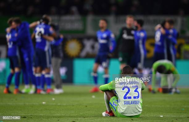 Josuha Guilavogui of Wolfsburg looks dejected at the end of the Bundesliga match between VfL Wolfsburg and FC Schalke 04 at Volkswagen Arena on March...