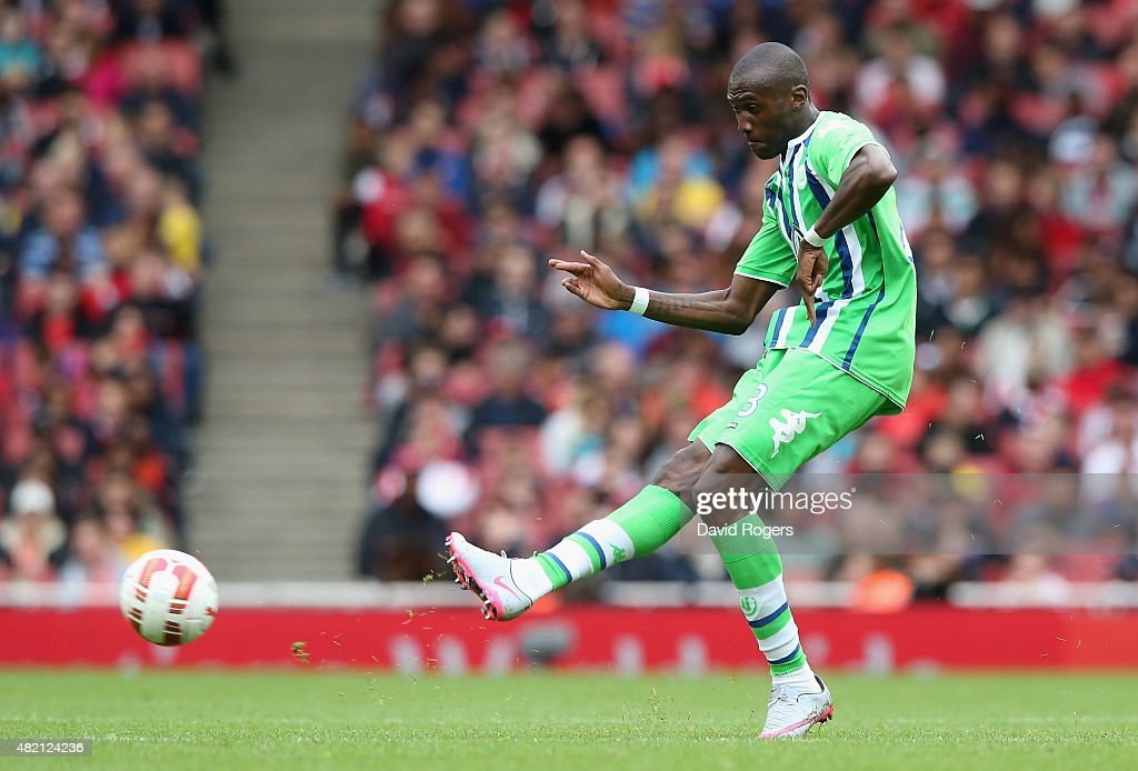 Josuha Guilavogui of Wolfsburg passes the ball during the Emirates Cup match between Arsenal and VfL Wolfsburg at the Emirates Stadium on July 26, 2015 in London, England.