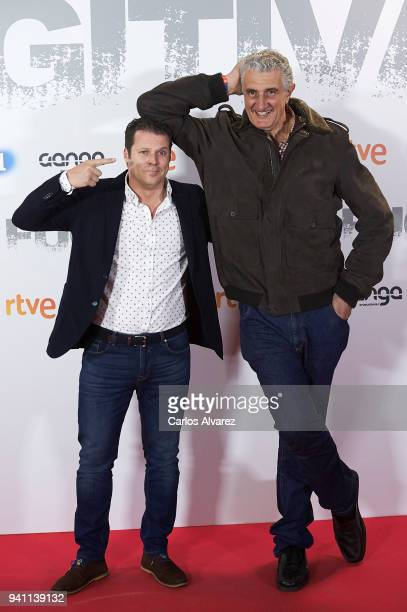 Jota Abril and Fernando Romay attend 'Fugitiva' Tv Series at the Callao cinema on April 2 2018 in Madrid Spain