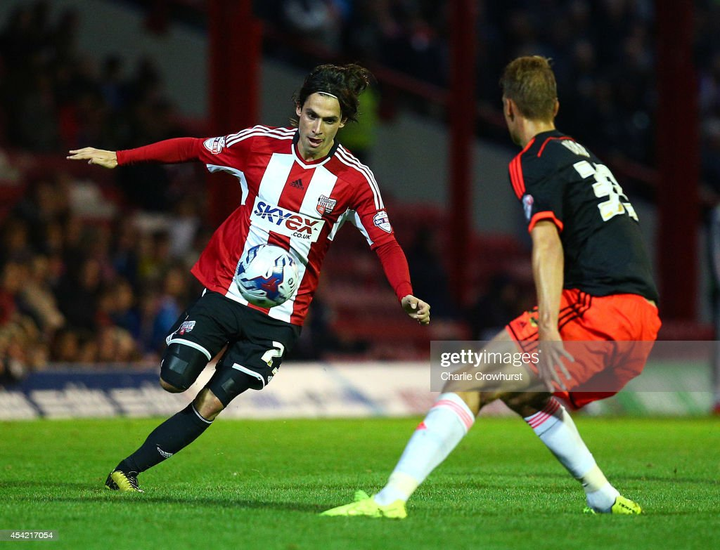 Jota attacks for Brentford during the Capital One Cup Second Round match between Brentford and Fulham at Griffin Park on August 26, 2014 in London, England.