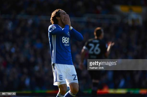 Jota of Birmingham puts his hands over his head after missing the target during the Sky Bet Championship match between Birmingham City and Aston...