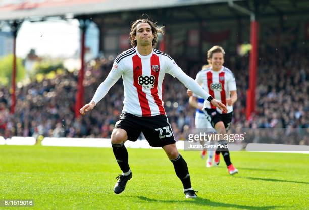 Jota of Brentford celebrates scoring the second Brentford goal during the Sky Bet Championship match between Brentford and QPR at Griffin Park on...