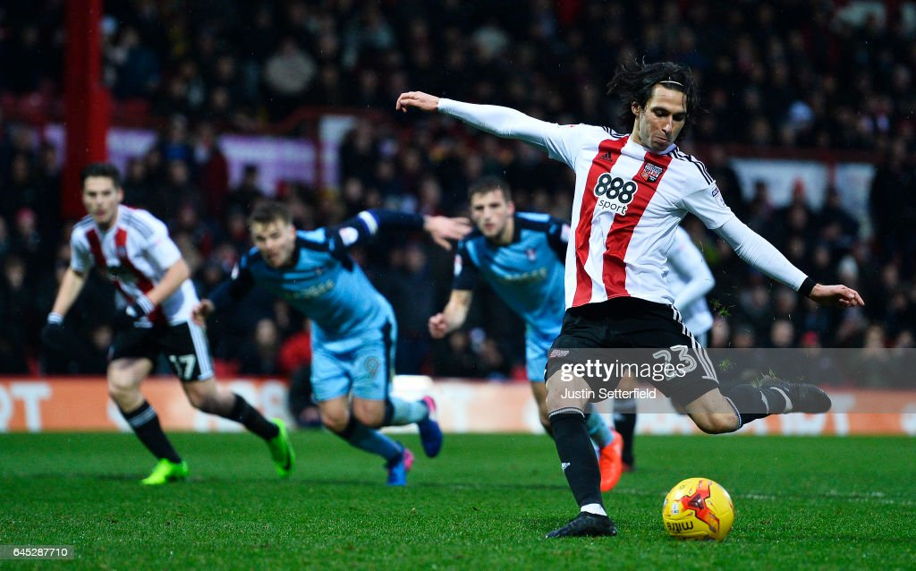 Jota of Brentford FC scores the 3rd Brentford goal during the Sky Bet Championship match between Brentford and Rotherham at Griffin Park on February 25, 2017 in Brentford, England.