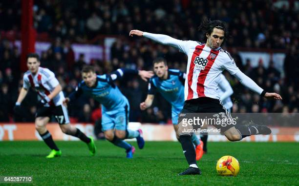 Jota of Brentford FC scores the 3rd Brentford goal during the Sky Bet Championship match between Brentford and Rotherham at Griffin Park on February...