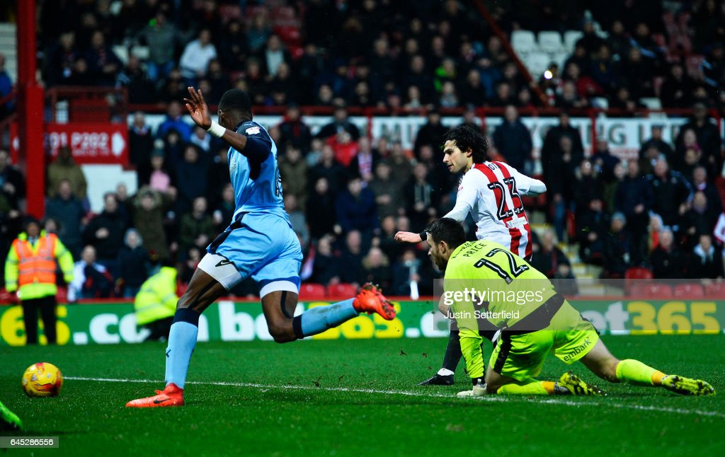 Jota of Brentford FC scores the 4th Brentford goal during the Sky Bet Championship match between Brentford and Rotherham at Griffin Park on February 25, 2017 in Brentford, England.