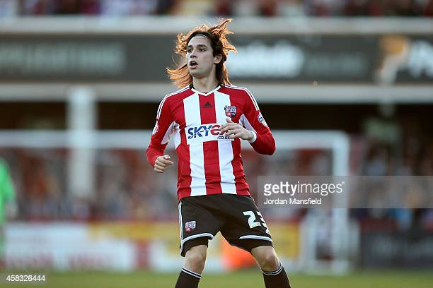 Jota of Brentford in action during the Sky Bet Championship match between Brentford and Derby County at Griffin Park on November 1 2014 in Brentford...