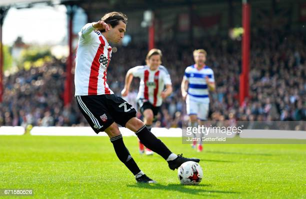 Jota of Brentford scores the second Brentford goal during the Sky Bet Championship match between Brentford and QPR at Griffin Park on April 22 2017...
