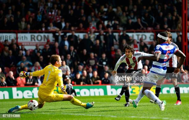 Jota of Brentford scores the third Brentford goal during the Sky Bet Championship match between Brentford and QPR at Griffin Park on April 22 2017 in...