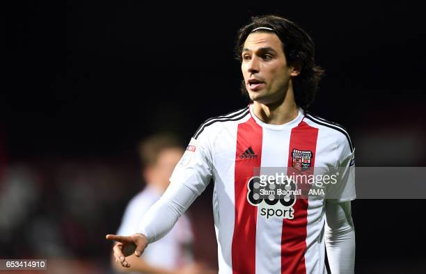 Jota of Brentfordduring the Sky Bet Championship match between Brentford and Wolverhampton Wanderers at Griffin Park on March 14 2017 in Brentford...