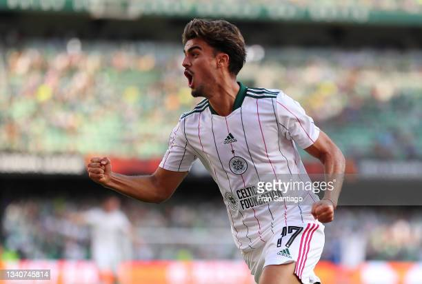Jota of Celtic celebrates their side's first goal scored by Albian Ajeti of Celtic during the UEFA Europa League group G match between Real Betis and...