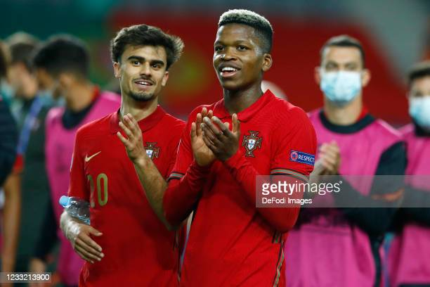 Jota of Portugal and Florentino of Portugal looks on during the 2021 UEFA European Under-21 Championship Quarter-finals match between Portugal and...