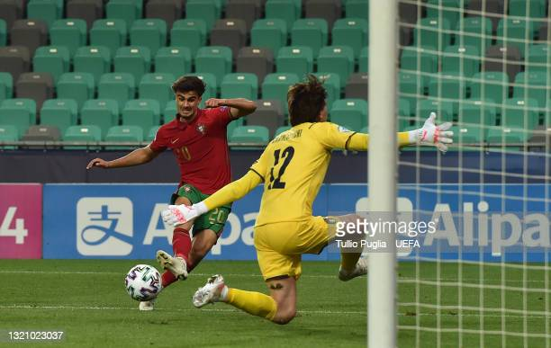 Jota of Portugal scores their side's fourth goal past Marco Carnesecchi of Italy during the 2021 UEFA European Under-21 Championship Quarter-finals...