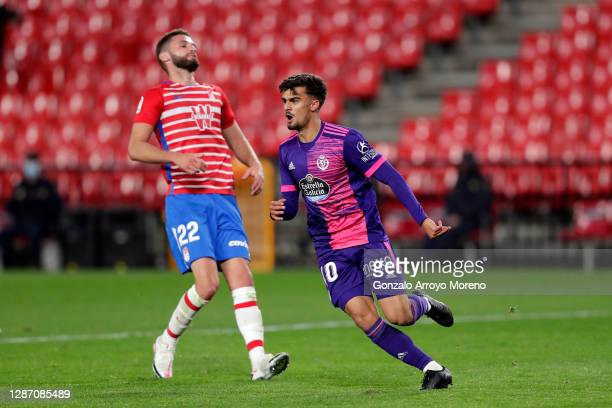Jota of Real Valladolid celebrates after scoring their sides third goal during the La Liga Santander match between Granada CF and Real Valladolid CF...