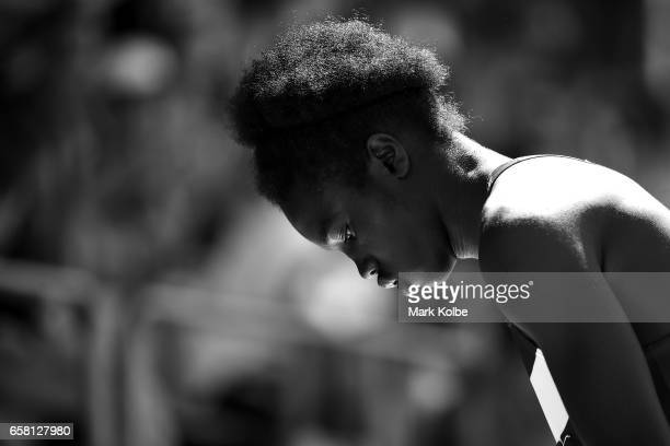 Jotham Kuku of Victoria watches on as he competes in the mens under 17 triple jump on day two of the 2017 Australian Athletics Championships at...