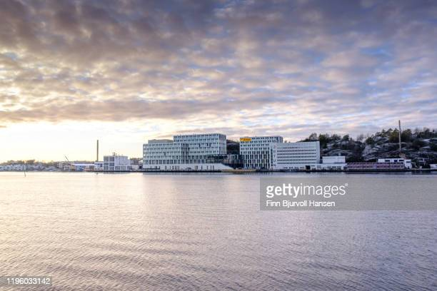 jotun main office and laboratory in sandefjord norway - finn bjurvoll stock pictures, royalty-free photos & images