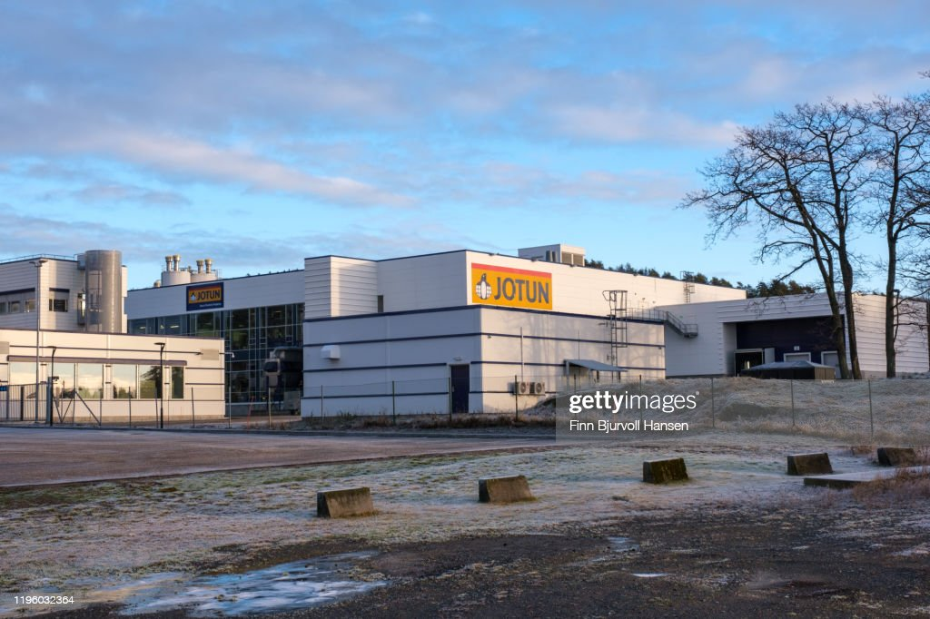 Jotun paint main factory in Sandefjord Norway : Stock Photo