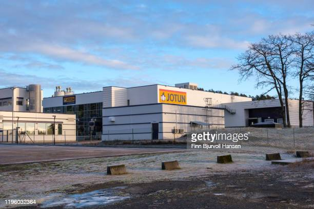 jotun paint main factory in sandefjord norway - finn bjurvoll stock pictures, royalty-free photos & images