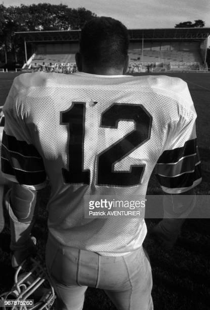 Joueur de football américain lors d'un match le 19 juillet 1985 à Biarritz, France.