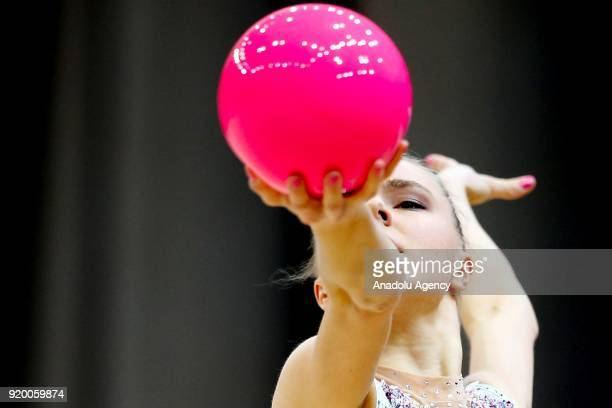 Jouki Tikkanen of Finland performs during the 2018 Moscow Rhythmic Gymnastics Grand Prix GAZPROM Cup in Moscow Russia on February 18 2018