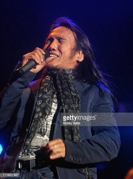 Jouney's new lead singer Arnel Pineda perfoms at the Nikon at Jones Beach Theater on August 14 2008 in Wantagh New York