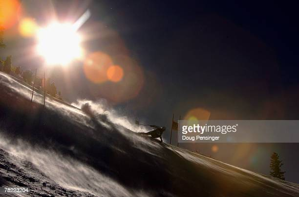 Jouni Pellinen of Finland skis the begining of the windblown course however he did not finish in the Mens FIS Alpine World Cup Super G on the Birds...