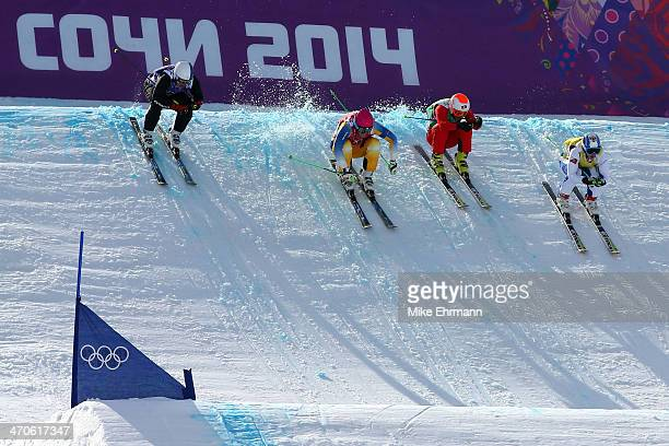 Jouni Pellinen of Finland Victor Oehling Norberg of Sweden Armin Niederer of Switzerland and Egor Korotkov of Russia compete during the Freestyle...