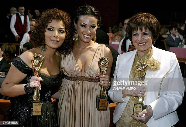 Syrian singer Asala winner of best Arab singer Tunisian actress Hind Sabri winner of best Arab cinema actress and Egyptian actress Samira Ahmed...