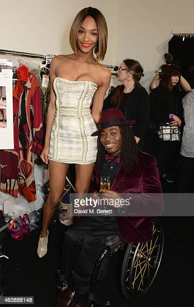Jourdan Dunn and Ade Adepitan attend the Fashion For Relief charity fashion show to kick off London Fashion Week Fall/Winter 2015/16 at Somerset...