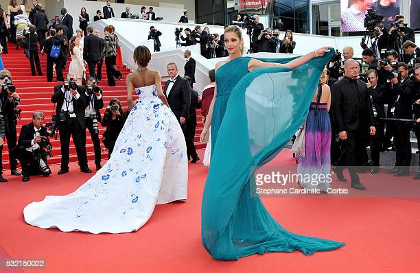 Jourdan Dunn and Ana Beatriz Barros attend 'The Unknown Girl ' Premiere during the 69th annual Cannes Film Festival at the Palais des Festivals on...