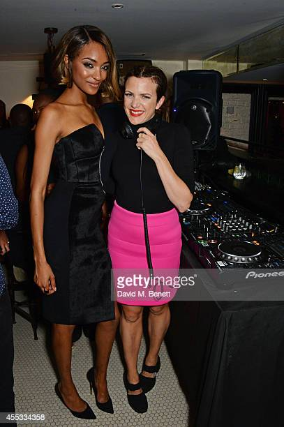 Jourdan Dunn and Annie Mac attend the Maybelline New York London Fashion Week Party hosted by Jourdan Dunn at Tredwels on September 12 2014 in London...