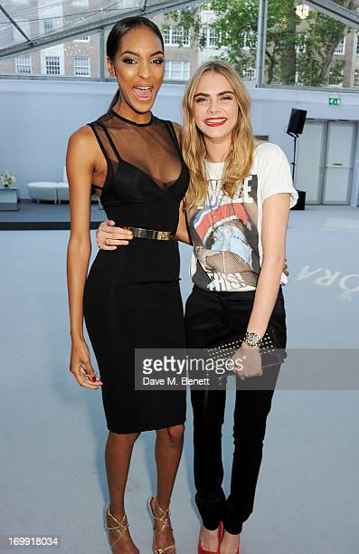 Jourdan Dunn and Cara Delevingne arrive at the Glamour Women of the Year Awards in association with Pandora at Berkeley Square Gardens on June 4 2013...