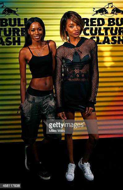 Jourdan Dunn and guest arrive prior to Red Bull Culture Clash at Earls Court on October 30 2014 in London England