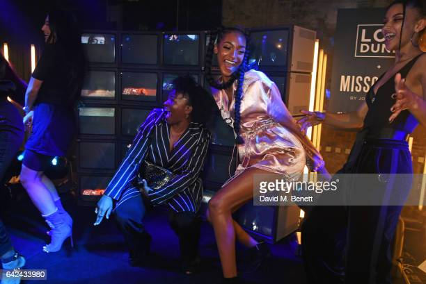 Jourdan Dunn and guests dance onstage at the Lon Dunn Missguided launch event hosted by Jourdan Dunn at The London EDITION on February 17 2017 in...