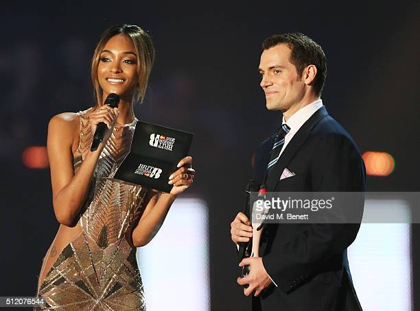 Jourdan Dunn and Henry Cavill present an award at the BRIT Awards 2016 at The O2 Arena on February 24 2016 in London England