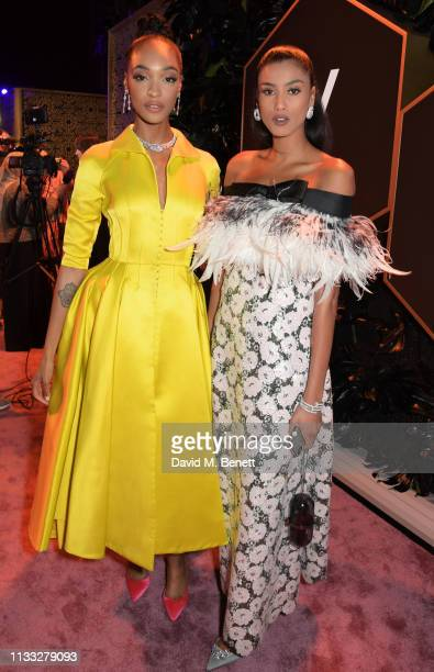 Jourdan Dunn and Imaan Hammam attend the Fashion Trust Arabia Prize awards ceremony on March 28 2019 in Doha Qatar