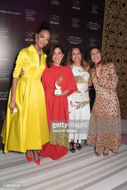 Jourdan Dunn and Jewellery Award winners Meena Mukhi, Zeenat Mukhi and Maya Mukhi of Mukhi Sisters attend the Fashion Trust Arabia Prize awards...