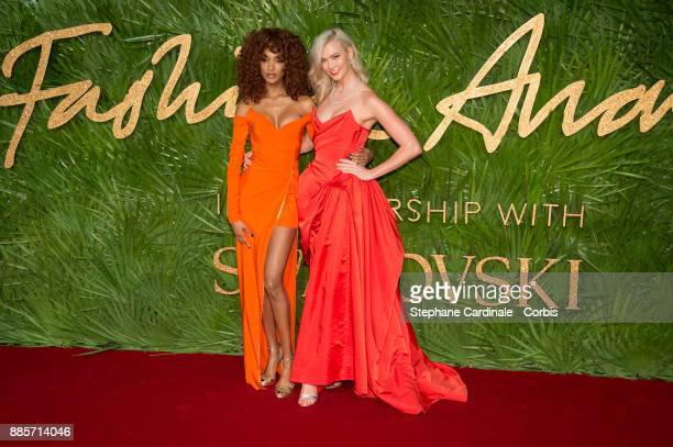 Jourdan Dunn and Karlie Kloss attend the Fashion Awards 2017 In Partnership With Swarovski at Royal Albert Hall on December 4 2017 in London England
