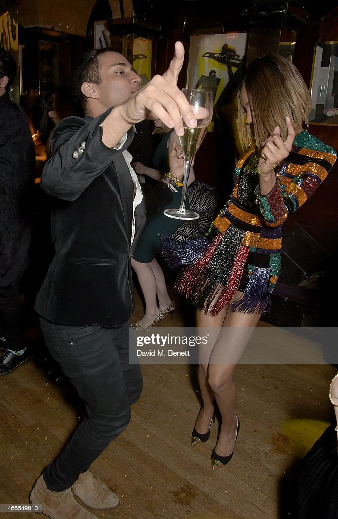 Jourdan Dunn and Olivier Rousteing attend a party hosted by Olivier Rousteing, to mark the opening of Balmain's first London store, at Annabel's on March 16, 2015 in London, England.