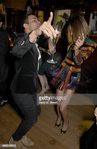 Jourdan Dunn and Olivier Rousteing attend a party hosted by Olivier Rousteing to mark the opening of Balmain's first London store at Annabel's on...