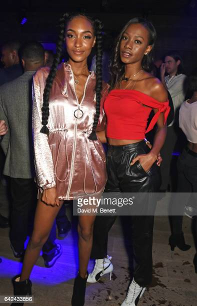 Jourdan Dunn and Sigail Currie attend the Lon Dunn Missguided launch event hosted by Jourdan Dunn at The London EDITION on February 17 2017 in London...