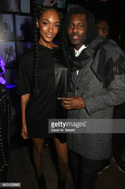 Jourdan Dunn and Wretch 32 attend the Lon Dunn Missguided launch event hosted by Jourdan Dunn at The London EDITION on February 17 2017 in London...