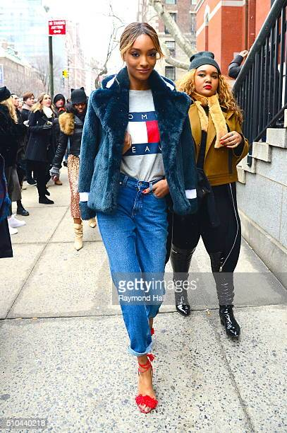 Jourdan Dunn arrive at Tommy Hilfiger fashion show during Fall 2016 New York Fashion Week on February 15 2016 in New York City