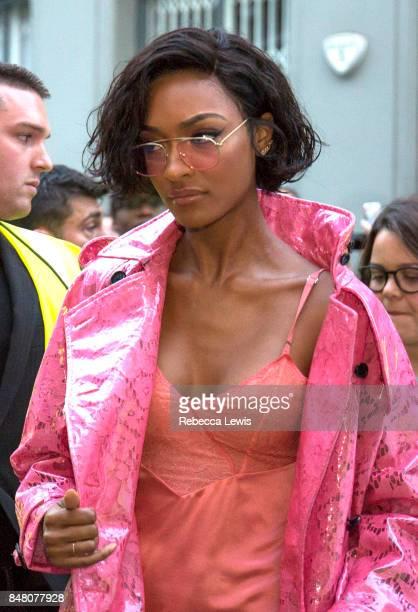 Jourdan Dunn arriving for Burberry show wearing Burberry during London Fashion Week September 2017 on September 16 2017 in London England